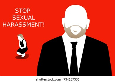 "An illustration showing a bald man with blonde beard, a small woman on her feet and text that reads ""STOP SEXUAL HARASSMENT!""."