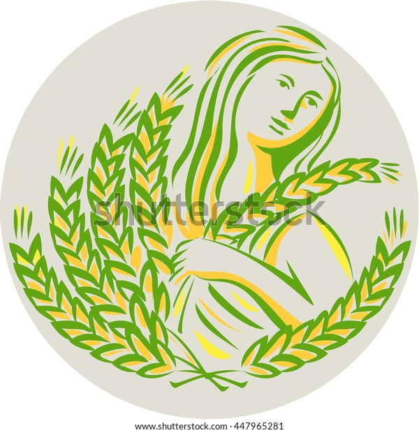 Illustration showing Demeter, Greek goddess of the harvest and agriculture, who presided over grains and fertility holding wheat grain looking side viewed front set inside circle done in retro style.