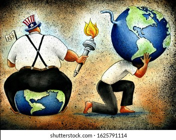 Illustration showing North American fat capitalist man sitting on planet earth and burning another earth carried by poor weak man. Symbol of political conflict, global financial crisis, exploitation
