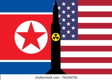 An illustration showing the United States (US) flag and the North Korean (DPRK) flag separated by a shadow of a nuclear ICBM at the center of the image.