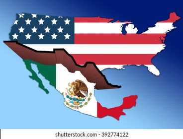 Illustration showing the USA and Mexico divided by a huge brick wall