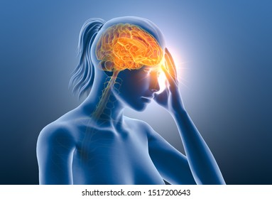 Illustration showing a woman having headache or migraine with brain, nerves and aura, medically 3D illustration on blue background
