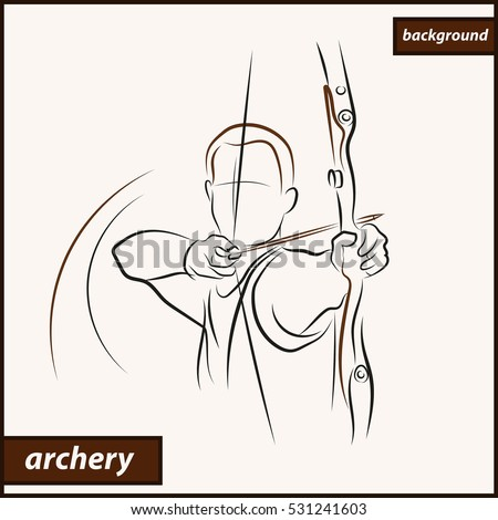 Illustration Shows Archer Aims Target Archery Stock Illustration