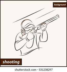 Illustration shows a athlete shoots a gun. Sport. Shooting