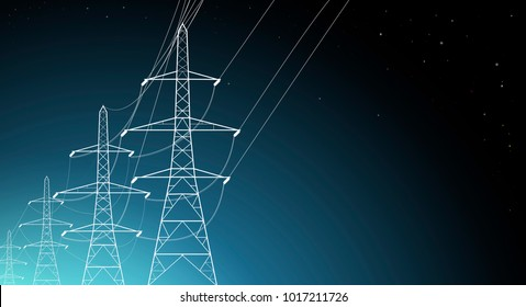Illustration shows Energy. High-voltage power lines on a blue, sky background