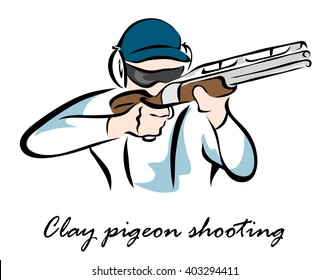 Illustration shows a kind of sport. Clay pigeon shooting