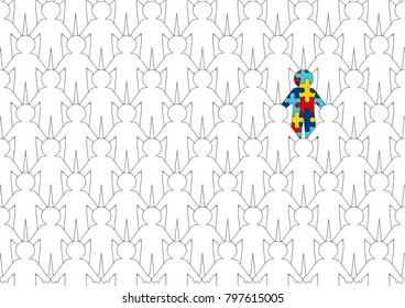 illustration shows World Autism Awareness Day. It depicts a lot of people holding hands together among whom a person with autism syndrome is conferred.