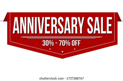An illustration of a sign with an Anniversary sale text isolated on a white background