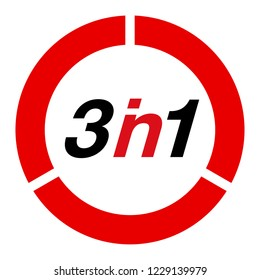 "Illustration Sign Numbers ""three in one"" Isolated on White background. Figures 3 in 1 icon of black and red color. banner with three and one numeral"