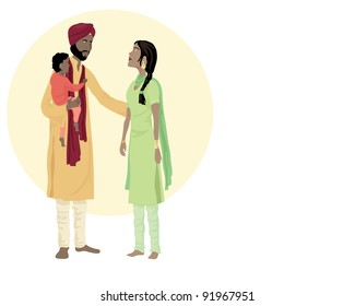 an illustration of a sikh family including a man woman and small child in traditional dress