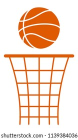 Illustration of the silhouette basketball ball and basket