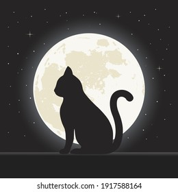 illustration of a silhouette of a black cat on a background of the night sky with stars and the moon