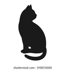 illustration of a silhouette of a black cat on a white background