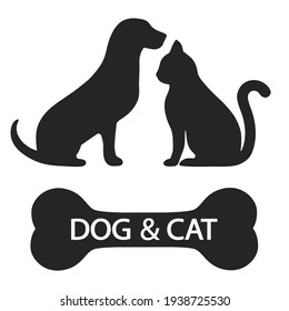 illustration silhouette of dog and cat with bone and text on white background