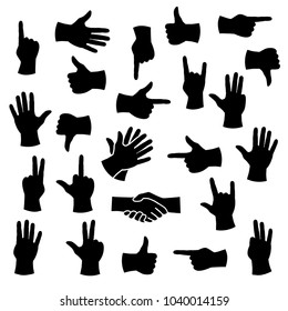 Illustration of a silhouette of a hand in different positions.