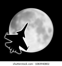 illustration of the silhouette of the warplane on background of the night moon