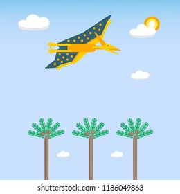 Illustration. Simple background with flat style icon of flying Pteranodon. Pictogram of pterosaur and landscape for print on t-shirt or design card.