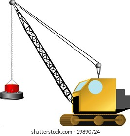 illustration of a simple magnetic crane on white
