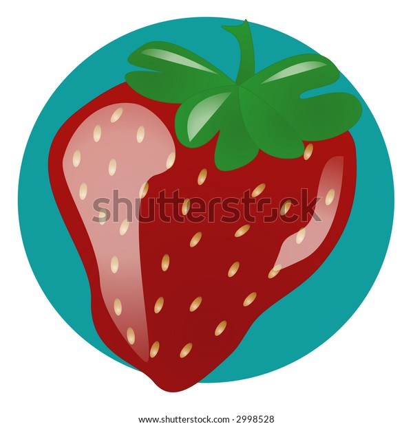 An illustration of a single strawberry on blue background