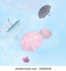 Illustration  of six rainbow umbrellas flying in a blue sky