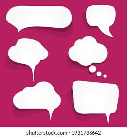 illustration of six white speech bubbles with shadows on colored background and free space for text