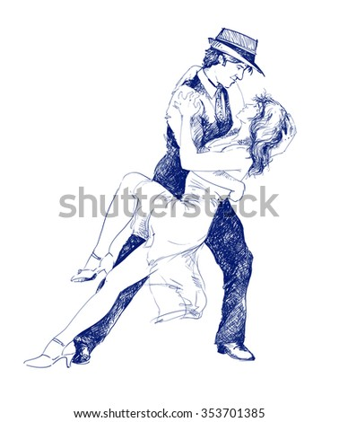 illustration sketch drawing couple dancing love stock illustration