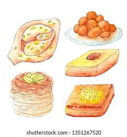 illustration of a sketch of watercolor sweets on Ramadan on a white background. Kunaafa Kadaif Lukaymat Basbussa  Baklava Chebakia. Oriental desserts in fasting ramadan with nuts and honey.