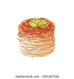 illustration of a sketch of watercolor sweets on Ramadan on a white background. Kunaafa Kadaif. Oriental desserts in fasting ramadan with nuts and honey.