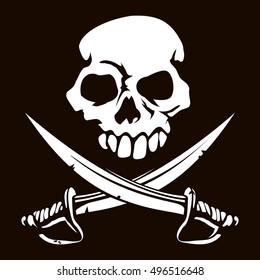An illustration of a skull and crossed swords pirate jolly roger flag