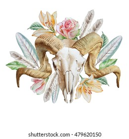 Illustration with skull, flowers and feather. Watercolor. Hand drawn