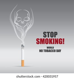 Illustration of skull shaped smoke comes out from cigarette. world no tobacco day