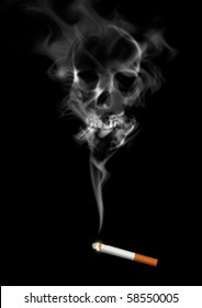 Illustration of skull shaped smoke comes out from cigarette