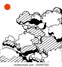 illustration of the sky. Black and white with red accent.