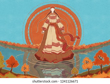 Illustration of Slavic water deity Dana by the river in autumn