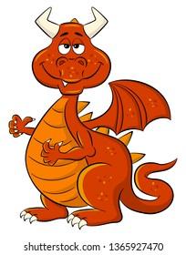 illustration of a sleepy smiling cartoon dragon
