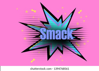 Illustration Smack Text/quote - Star explosion icon/symbol/sign/logo/silhouette - Colorful and multicolored pop art style comic spiked bubble with news - banner/poster/cover/card concept