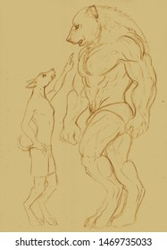 Illustration of a small anthropomorphic dog and a big muscular anthropomorphic bear