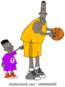 Illustration of a small black boy poking a tall basketball player in the butt.