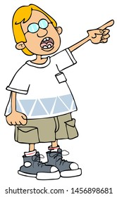 Illustration of a small blonde boy dressed in shorts and a t-shirt pointing up.