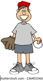 Illustration of a small boy wearing shorts with a baseball and a mitt.