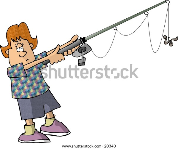 Illustration of a small girl holding a fishing pole.