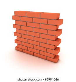 Illustration of a small wall from a red bricks