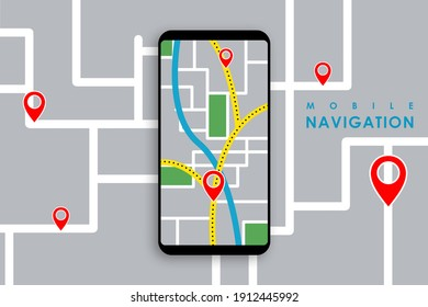 Illustration of smartphone with mobile navigation. Smartphone map application and red pinpoint on screen.