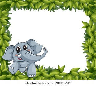 Illustration of a smiling elephant and plant frame on a white background