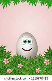 An illustration of smiling funny egg in Easter Day