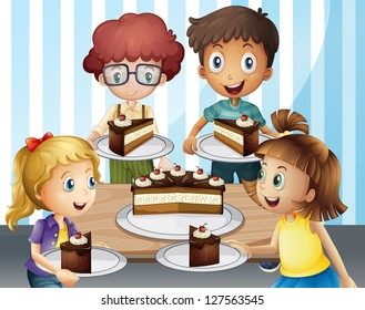 Terrific Boy Eating Birthday Cake Stock Illustrations Images Vectors Funny Birthday Cards Online Inifofree Goldxyz