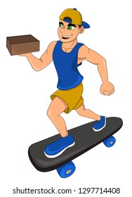 Illustration of a smiling skateboardist delivering a box, isolated on a white background