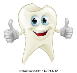 Illustration of a smiling tooth mascot character doing a double thumbs up