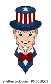 Illustration of smiling uncle Sam with top hat in the colour of an American flag and a red bow tie, isolated on a white background