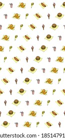 an illustration of snack food in a seamless pattern.